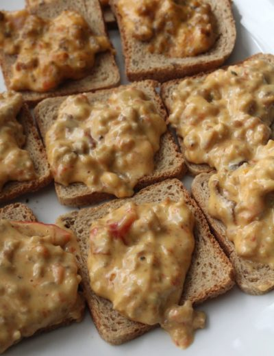 Sausage Hanky Panky Dip on Rye Bread plated on white plate
