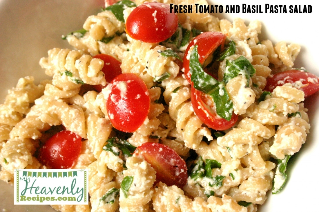 Fresh Tomato and Basil Pasta Salad (via MyHeavenlyRecipes.com) - This Fresh Tomato & Basil Pasta Salad Recipe will become a staple in your home. Overall it's pretty versatile and can be made for your families tastes!