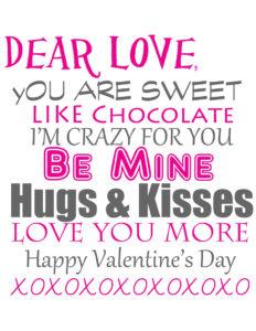 Valentine's Day printable love letter