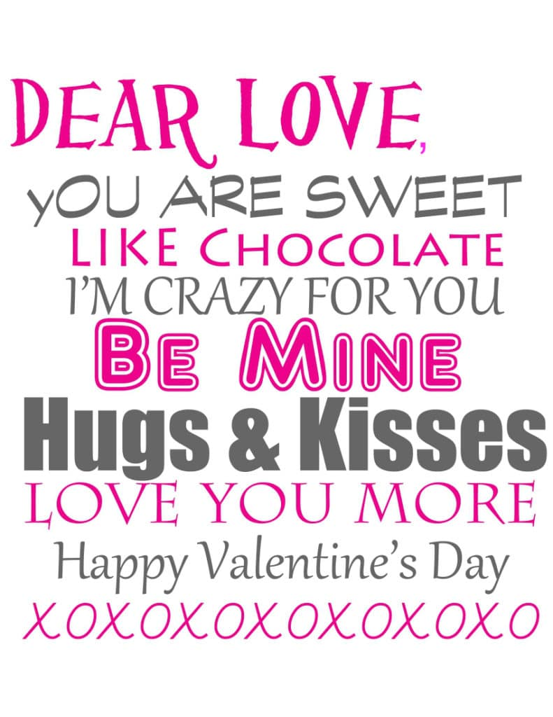 Valentine's Day printable love letter