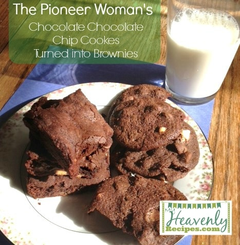 Pioneer Womans Chocolate Chocolate Chip Cookies Turned Brownies (via MyHeavenlyRecipes...) - This busy mommy was running out of time baking these cookies, so I turned them into brownies and they turned out AMAZING!