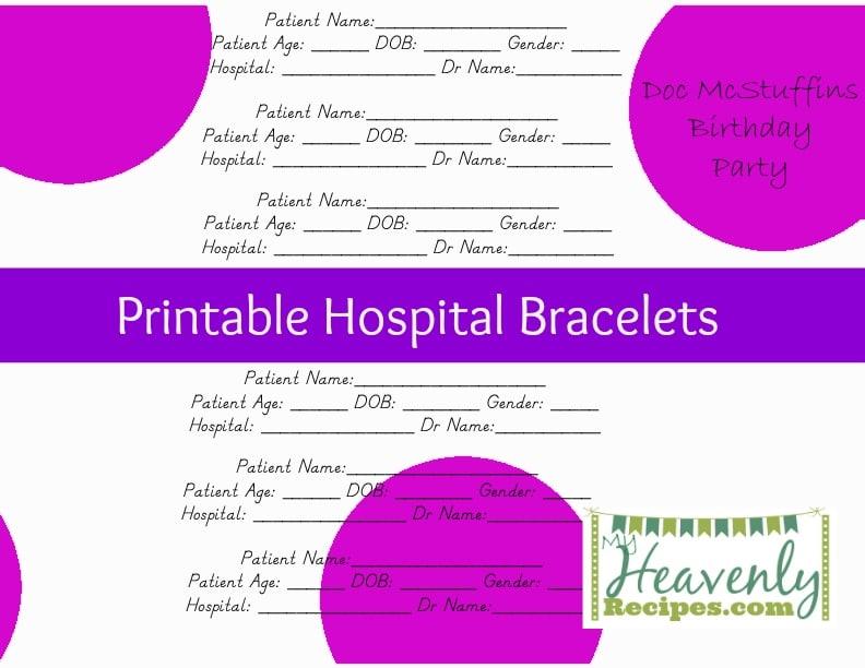 PrintableHospitalBracelet