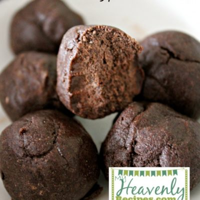 Chocolate protein balls on white plate