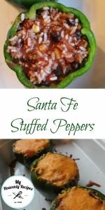 pinterest image for sante fe stuffed peppers