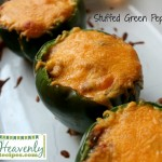 Stuffed green peppers with cheese on top