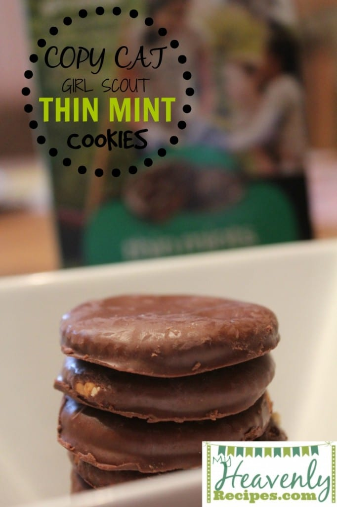 thin mint cookies stacked in a bowl with girl scout cookie box in background
