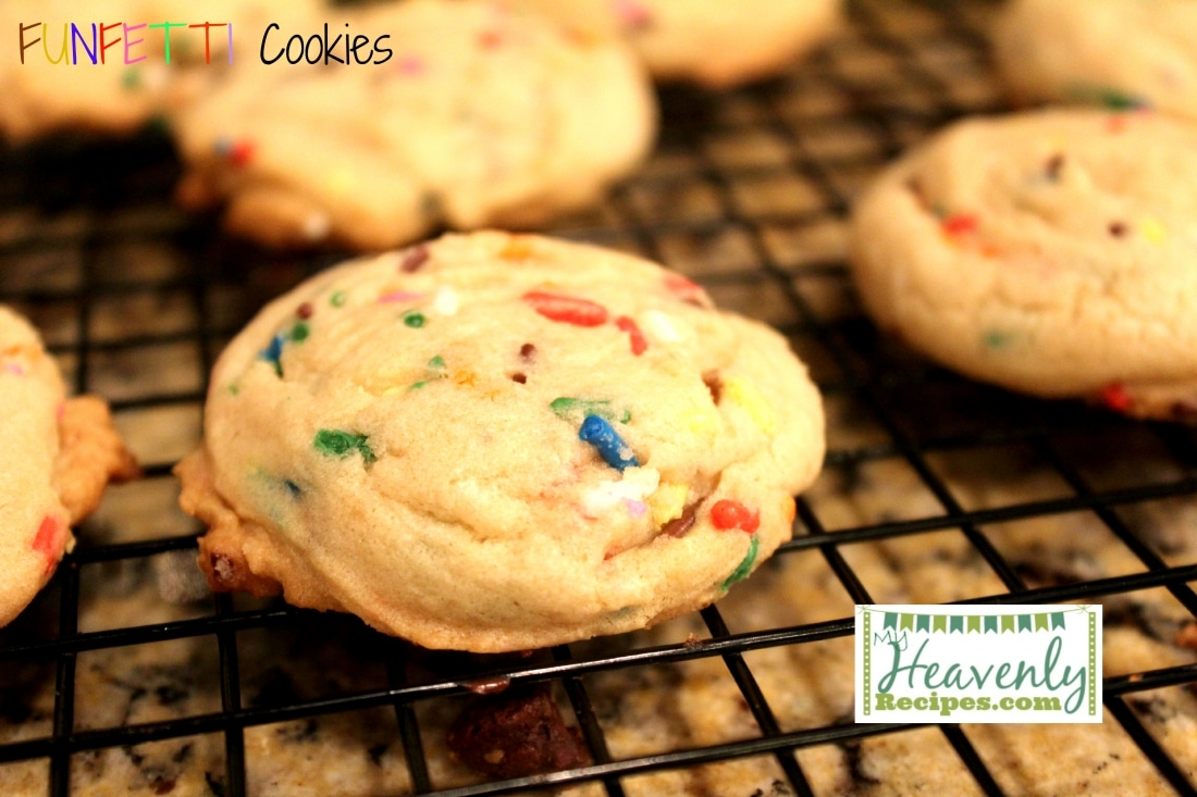 Funfetti cookies, made from scratch, cooling on a wire rack