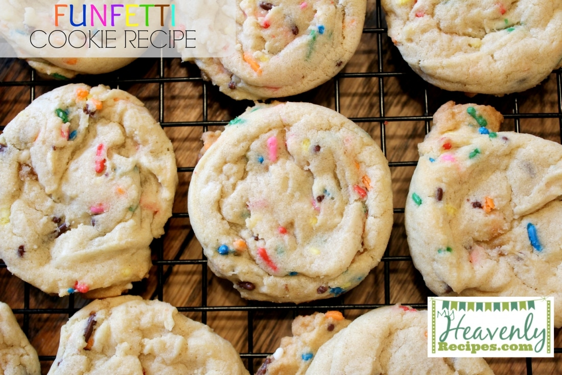 Funfetti Cookie Recipe {via MyHeavenlyRecipes.com} - This amazing and fun recipe makes a delicious soft batch of cookies that are full of flavor and colorful sprinkles. Perfect for a birthday party or just to eat for the heck of it!