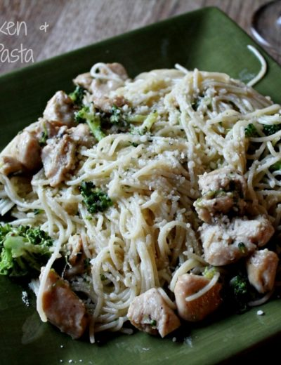 titled photo (and shown) Garlic Chicken and Broccoli Pasta