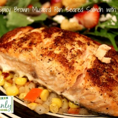 pan seared mustard glazed salmon with succotash
