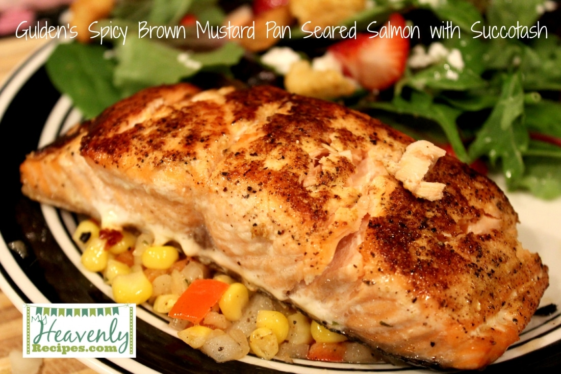 Gulden's Spicy Brown Mustard Pan Seared Salmon with Succotash