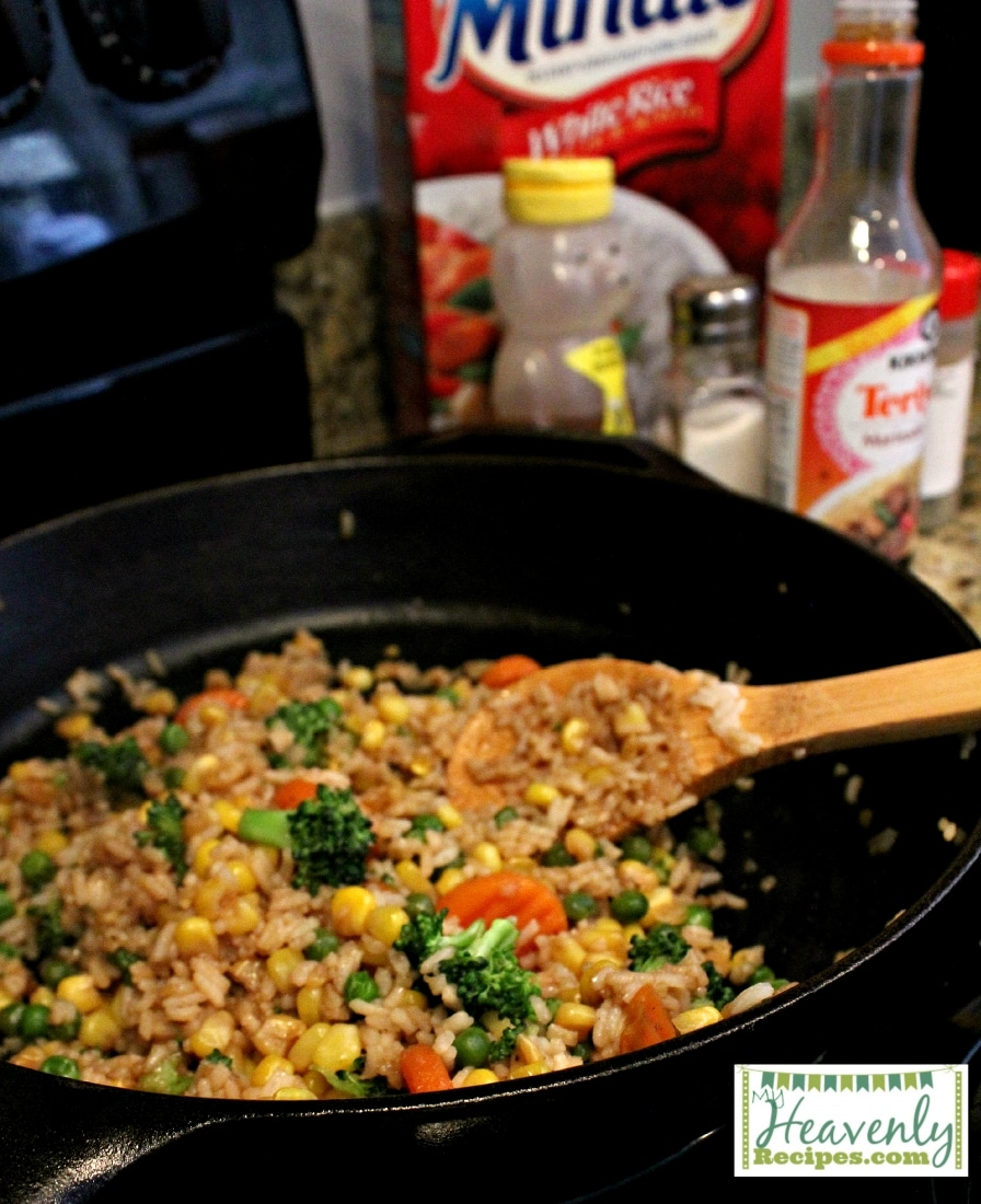 making healthier fried rice in a cast iron skillet