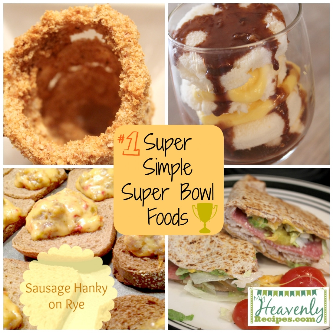 photo collage of 4 simple Super Bowl foods