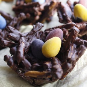 chocolate birds nest dessert with mini tiny candy eggs on yellow linen napkin