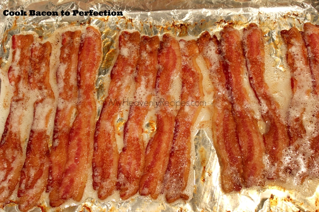 titled image: How to Cook Bacon to Perfection (image shows crispy slices of bacon on aluminum foil)