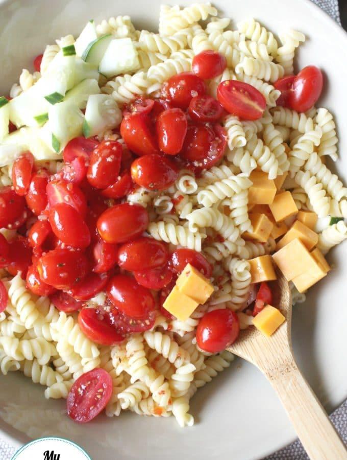 Italian Pasta Salad Overhead