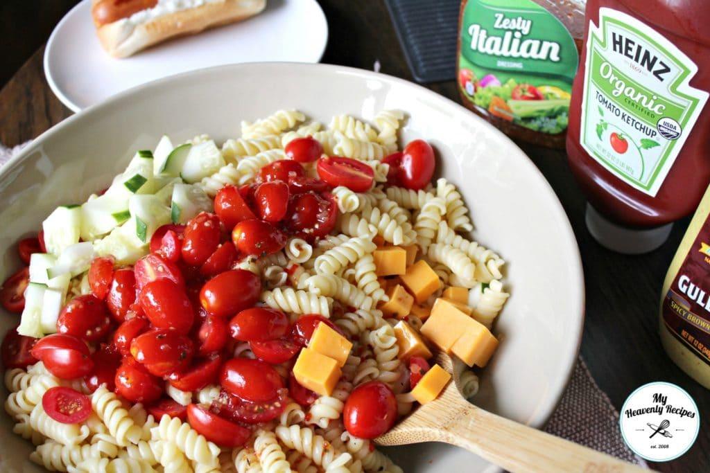 Italian Pasta Salad Pampered Chef Large Greystone Serving Bowl