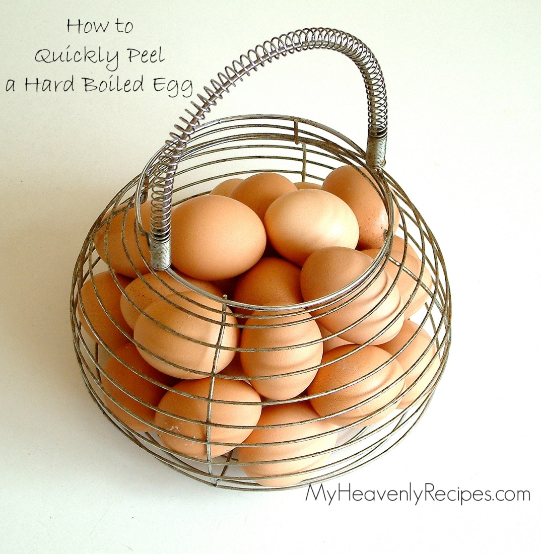 titled image: How to peel hard boiled eggs quickly (photo shows brown eggs in a wire basket)
