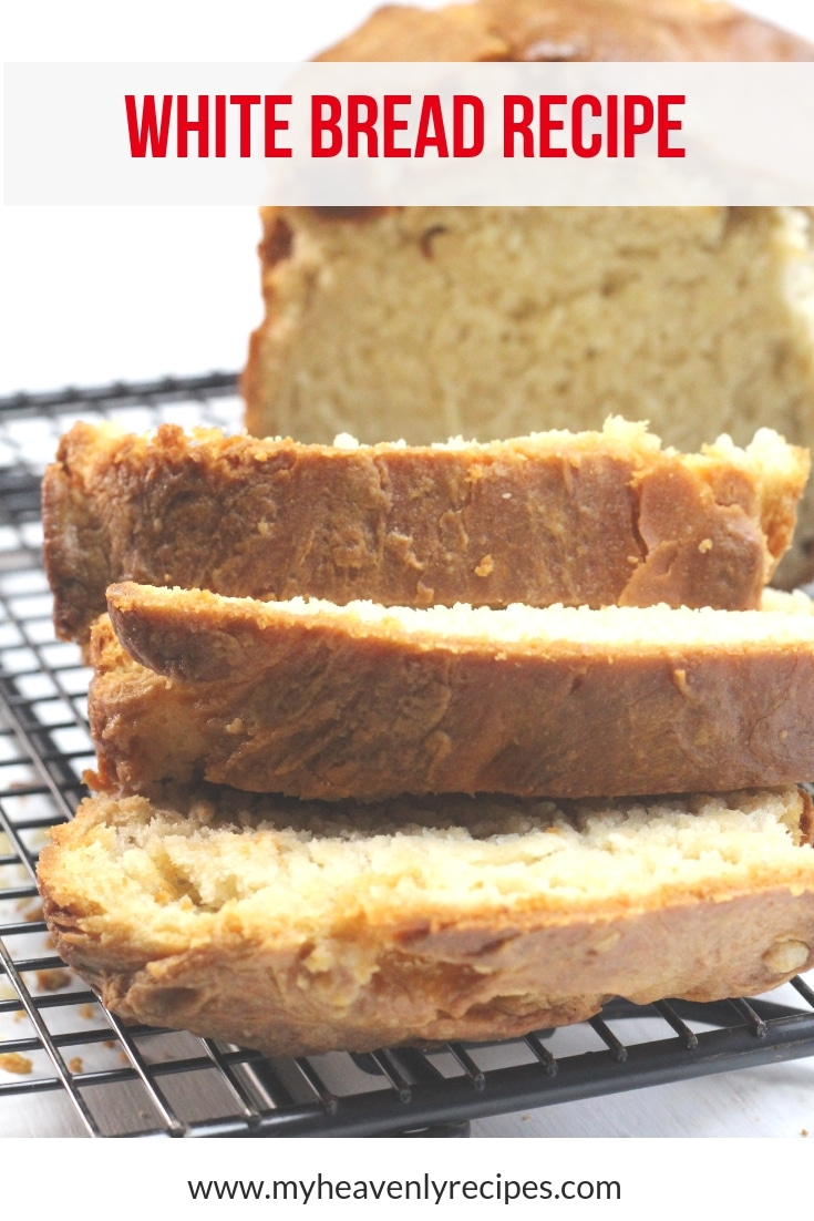 Traditional White Bread Recipe - This white bread recipe will become a staple in your home. Make two loaves, freeze the one you won't use right away and always have a loaf of fresh white bread on hand. [4 Weight Watchers SmartPoints per slice!] #MyHeavenlyRecipes #BreadRecipes #WhiteBread #EasyRecipes #WeightWatchers