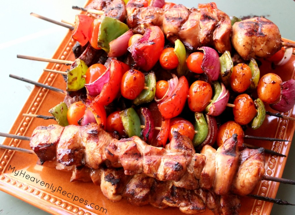 Steak and Chicken Kabobs on an orange plate