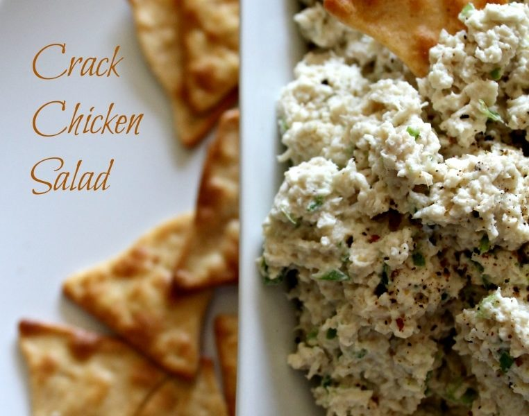 plate of crackers and bowl of the best chicken salad recipe - crack chicken salad
