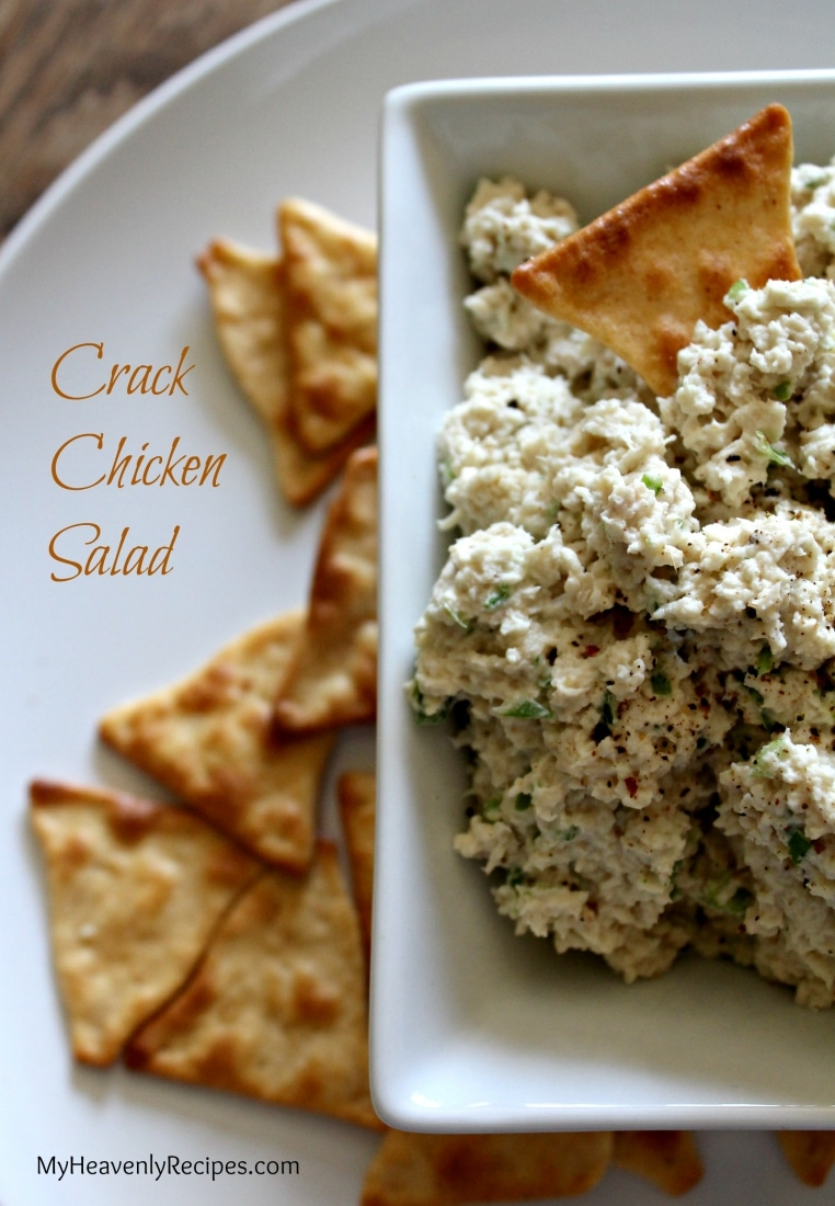 plate of crackers and a bowl of Crack Chicken Salad - the best chicken salad recipe!