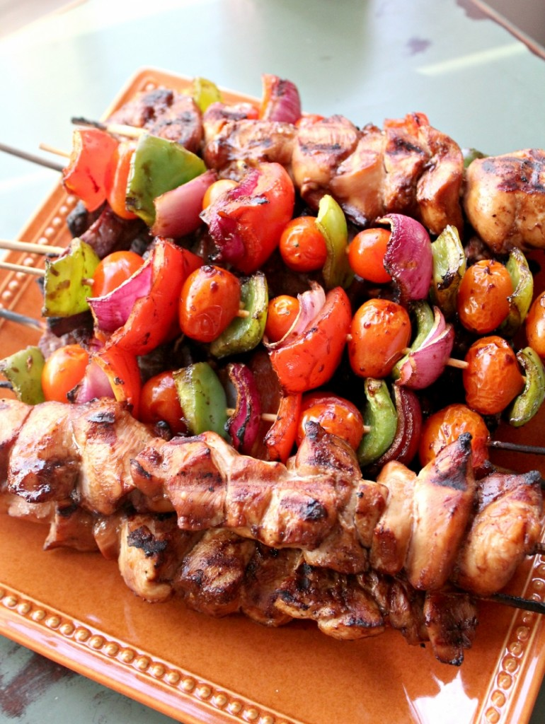 steak and chicken kabob