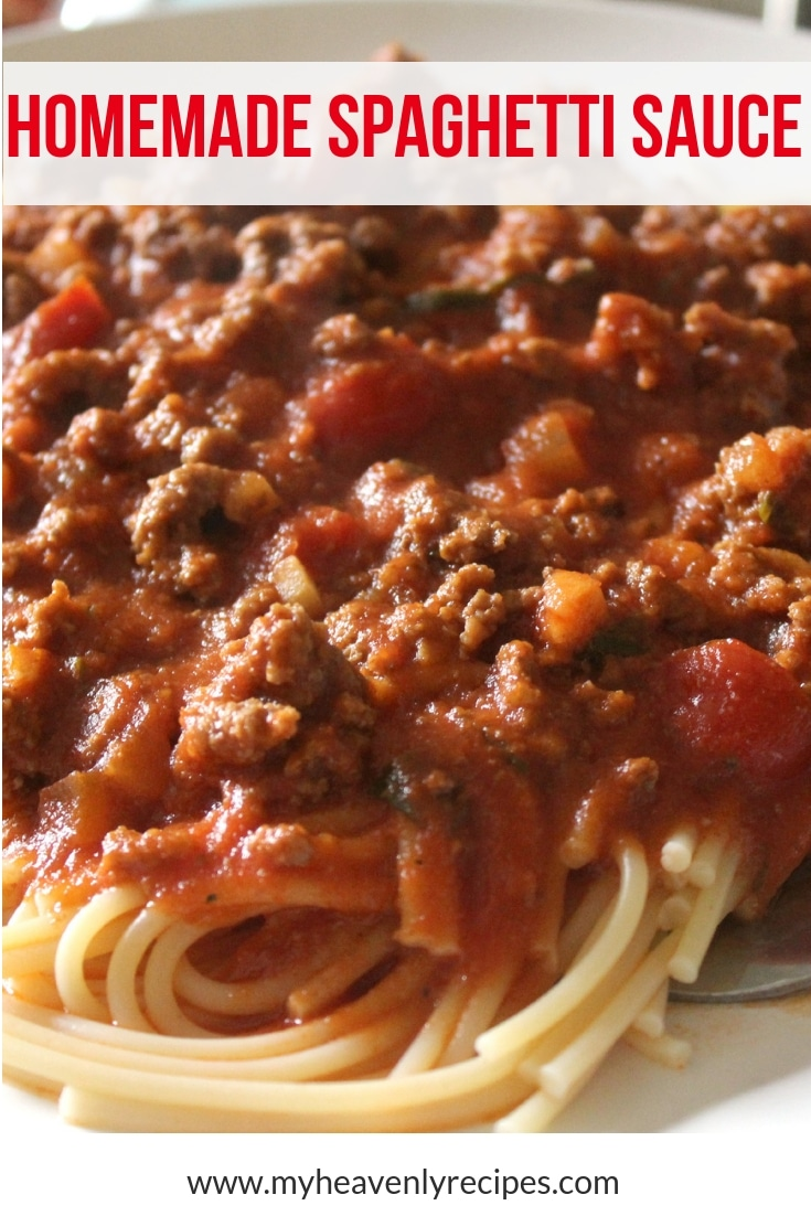 My favorite Homemade Spaghetti Sauce is packed full of meat, garlic and onions. Whether served over spaghetti noodles or used in my Homemade Lasagna recipe, it's always a hit in our house! #myheavenlyrecipes #spaghetti #sauce #dinnerrecipe
