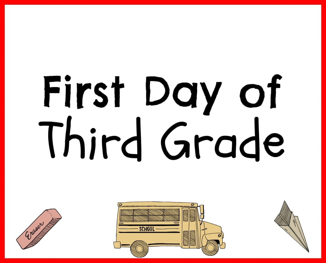 Back to School Printable Third Grade