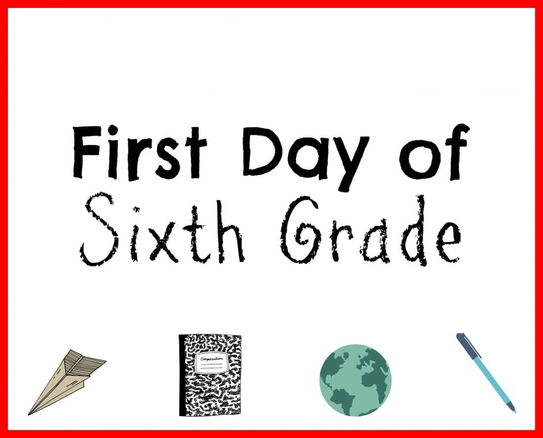 Back to School printable sixth grade