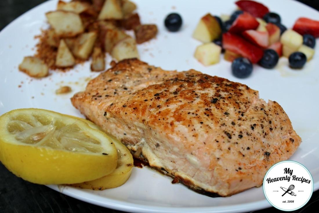 Cayenne Lemon Salmon on a white dinner plate
