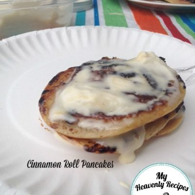 Cinnamon Roll Pancakes go down at our campsite more often than not.