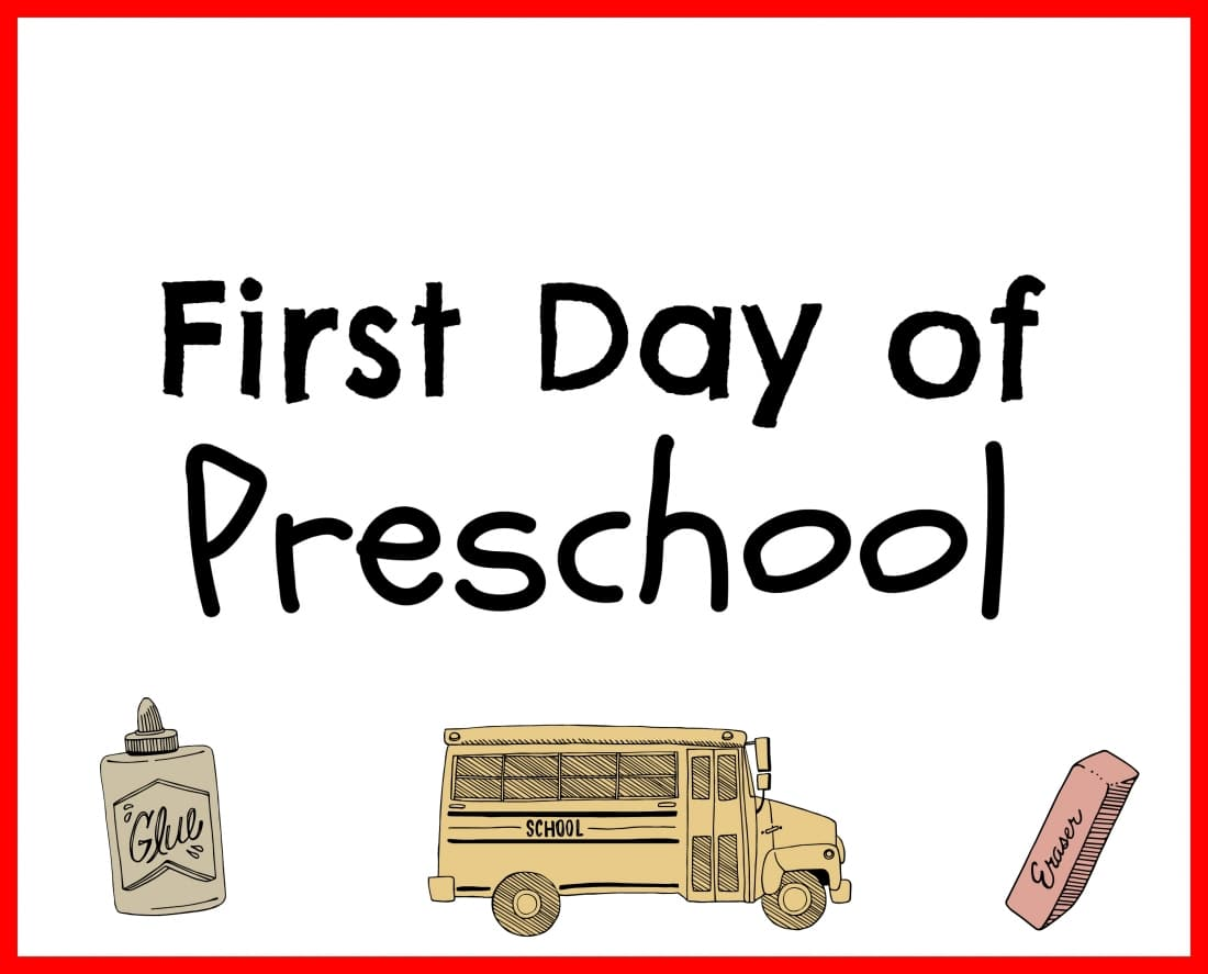 First Day of Preschool Printable Red
