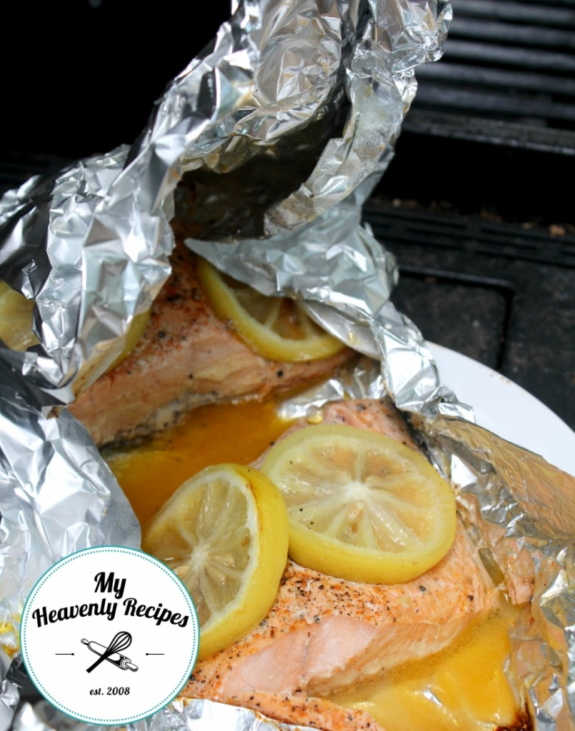 salmon with lemon cooked in a foil packet on the grill