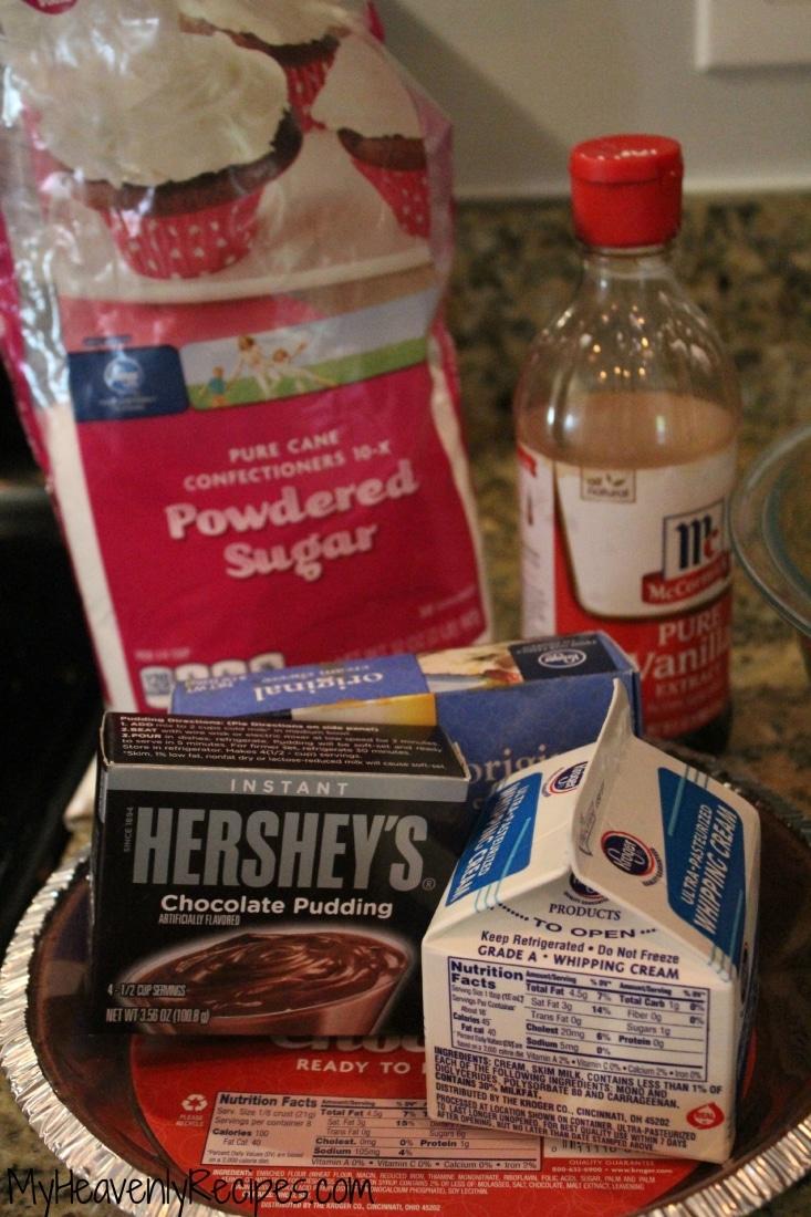 hershey sundae pie ingredients including powdered sugar and hershey chocolate pudding