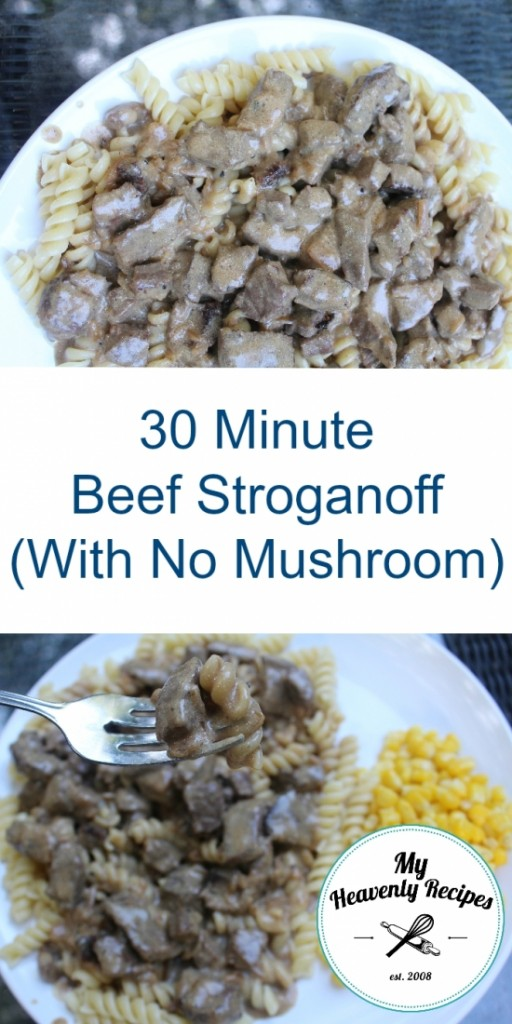 beef stroganoff with two plates pinterest image
