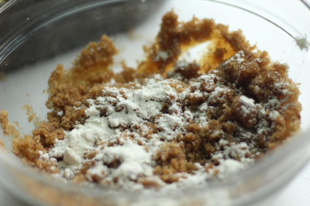brown sugar and flour mixed in bowl
