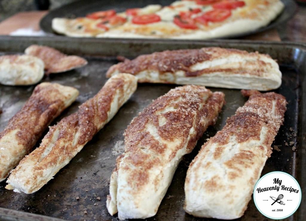 Cinnamon Bread Sticks made with pizza dough