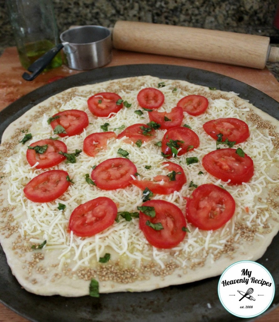 tomato basil pizza made with a quick pizza dough recipe