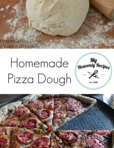 titled photo collage (and shown) homemade pizza dough