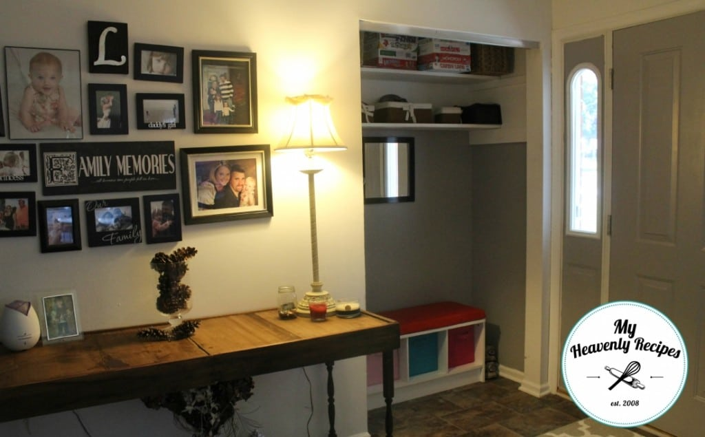 Hall closet turned mudroom makeover my heavenly recipes for Cost to build a mudroom