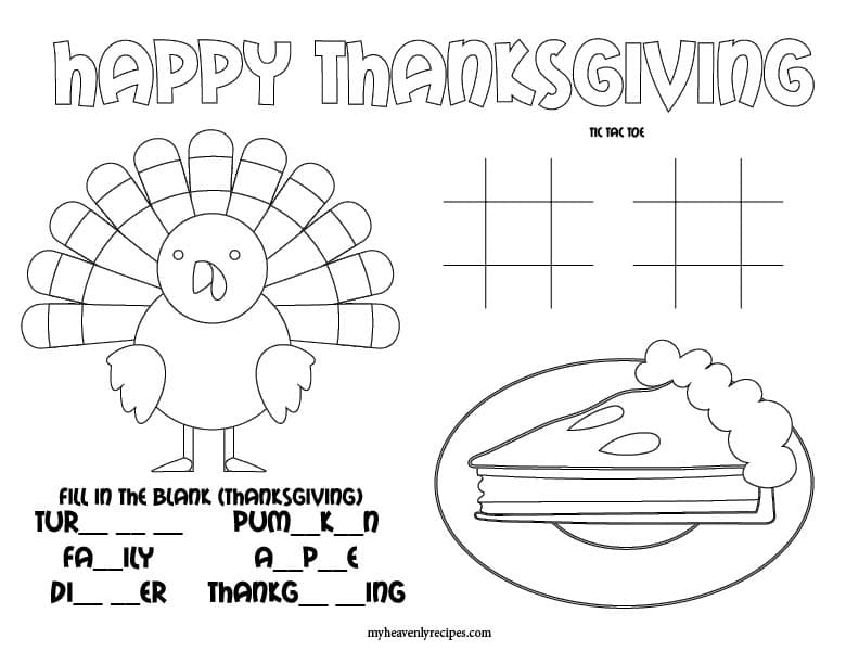 Thanksgiving Day coloring mat