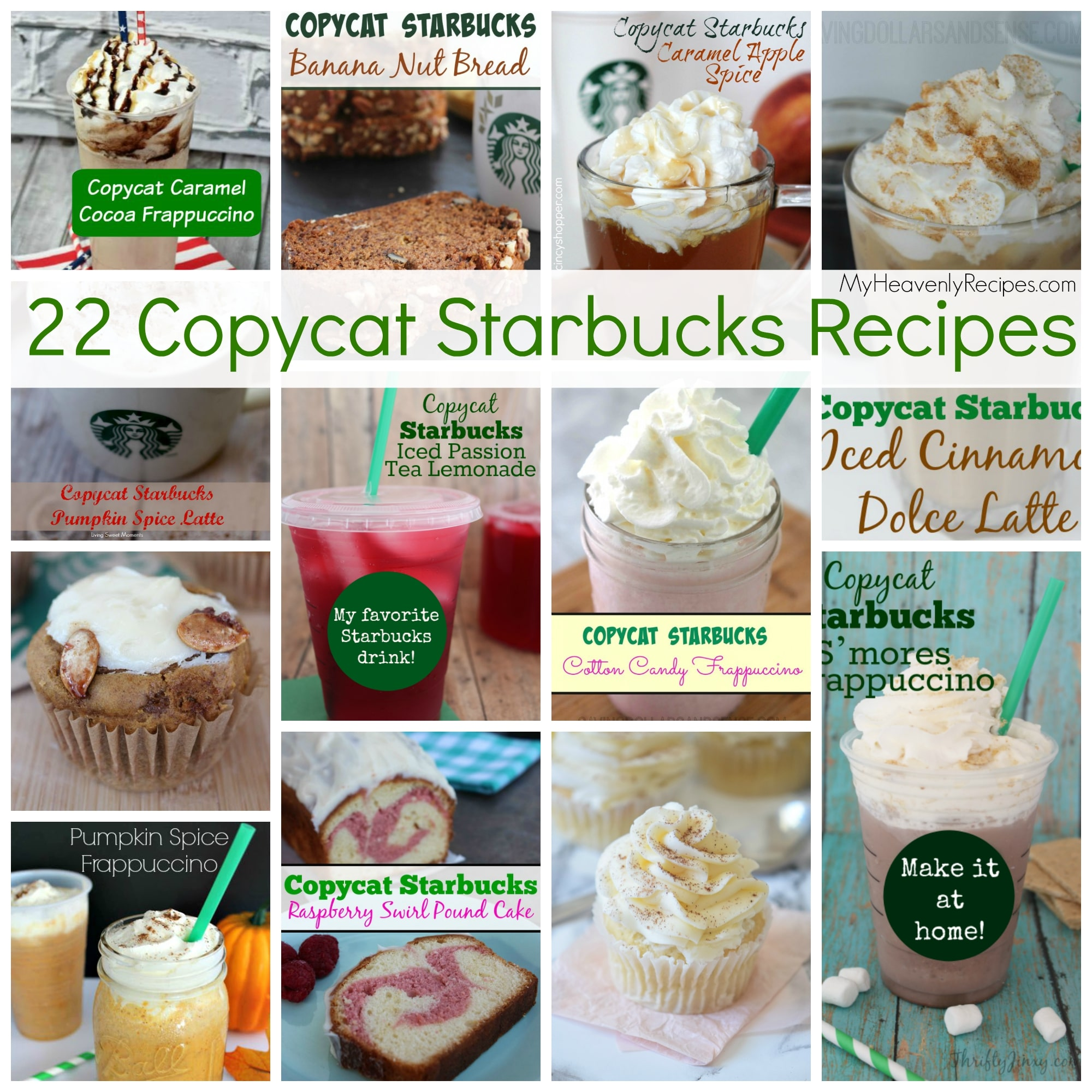 We all love Starbucks, but, the price can be hazardous to our pocketbooks. With these 22 CopyCat Starbucks recipes you're sure to find the recipes you love most at your local Starbucks.