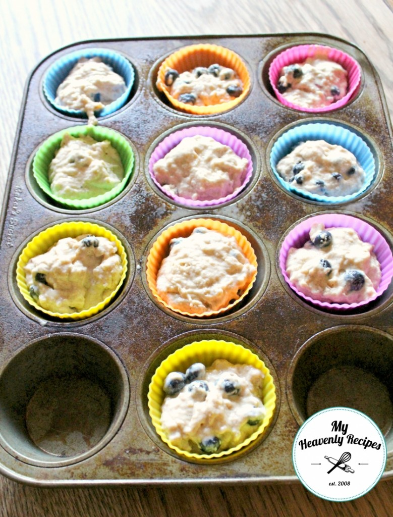 Blueberry Muffins in Liners and Tray