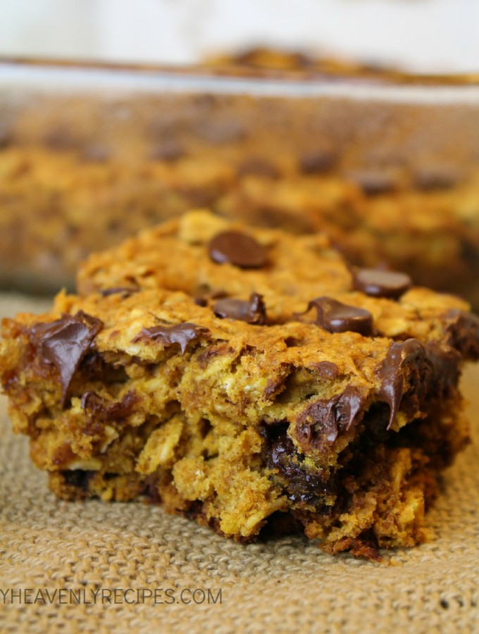 It's Pumpkin Season. Be ready with these Chocolate Chip Pumpkin Bars. They're a little piece of heaven.