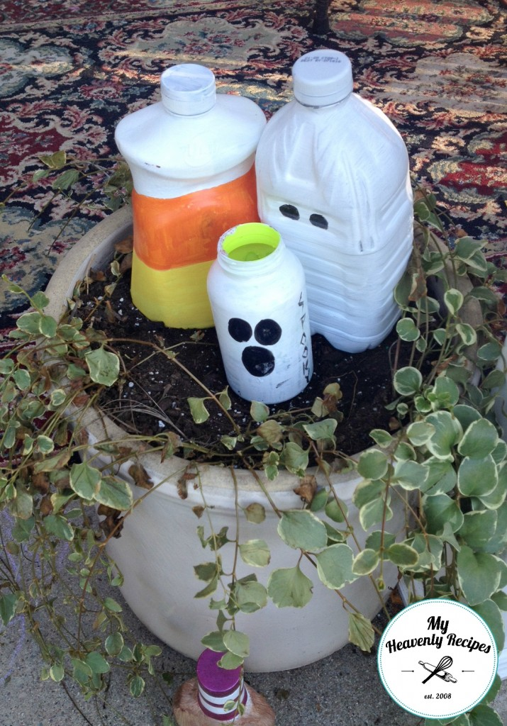 Outdoor Halloween Decorations made from empty plastic jugs and bottles