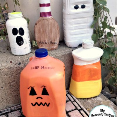 Halloween DIY decorations made from upcycled plastic jugs