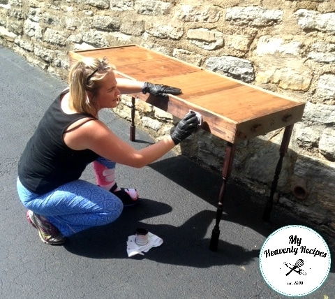 DIY Table Marci staining