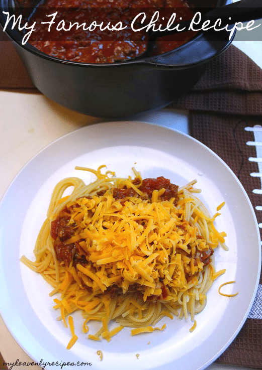 My famous chili recipe is perfect for making ahead of time and keeping warm in the slow cooker while watching football!