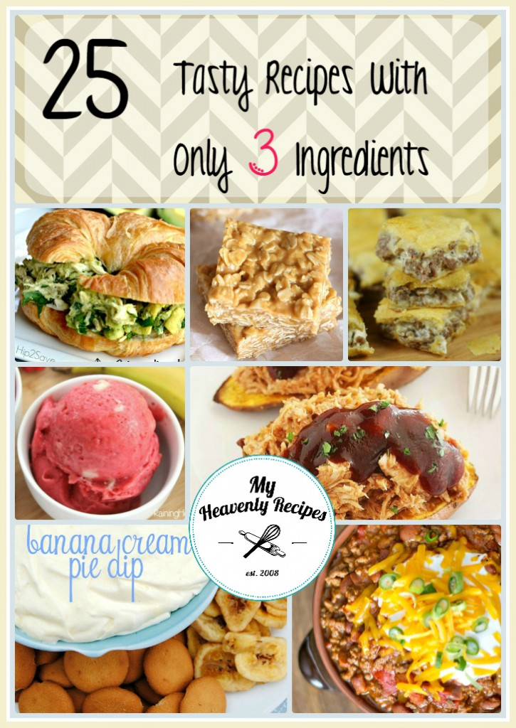 photo collage of 3 ingredient recipes